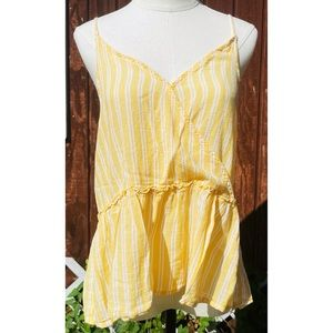 American Eagle Yellow and White Striped Tank top